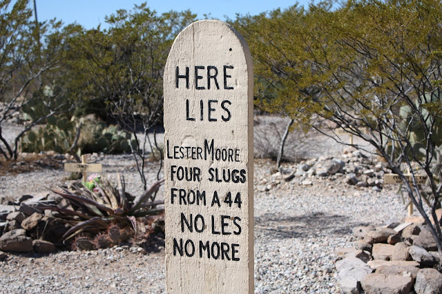 Lester Moore's grave at Boothill graveyard in Tombstone, AZ
