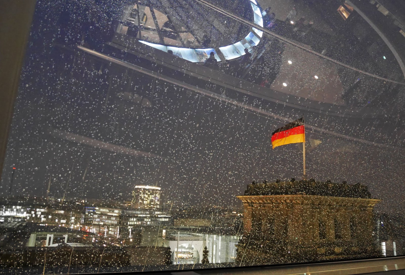 Rain on the windows of the Reichstag Dome, Berlin
