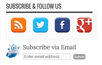 contoh Widget Langganan email via RSSFeed & Sosial Media Sharing Valid HTML5