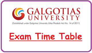 Galgotias University Exam Date Sheet 2019