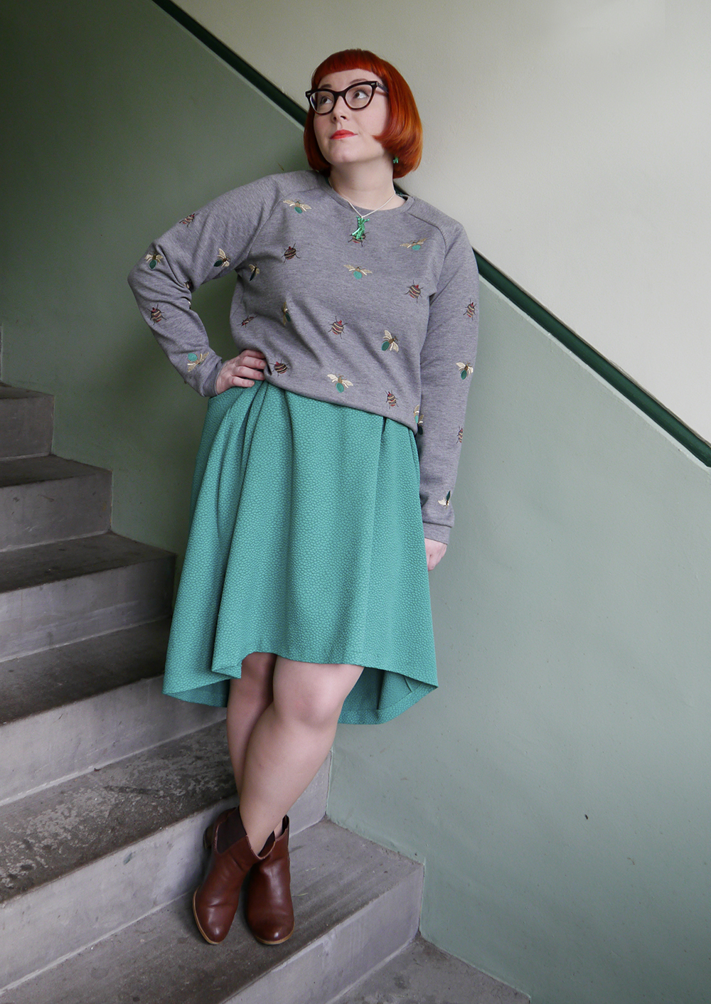 styled by helen, scottish blogger, dundee blogger, red head, ginger blogger, cat eye glasses, H&M bug jumper, green H&M dress, brown Zara boots, Sugar & Vice, Sugar and Vice grasshopper jewellery, grasshopper necklace, grasshopper earrings