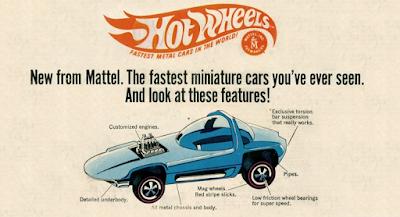 Imagem do anúncio de Hot Wheels, 1968.