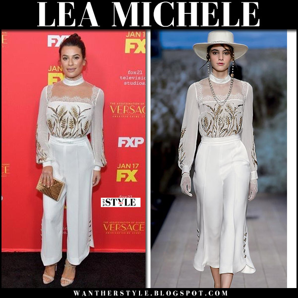 Lea Michele in white embroidered high neck top and cropped pants jumpsuit elisabetta franchi red carpet style january 8