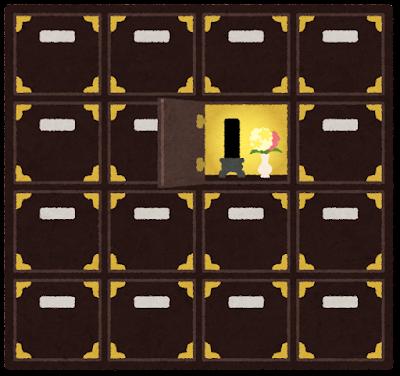 納骨堂のロッカーのイラスト(開いた状態)