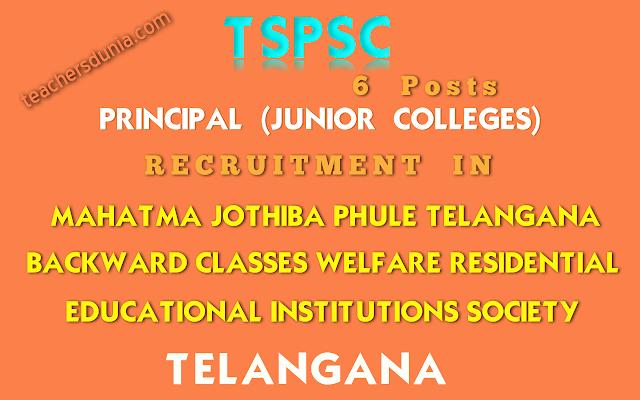 TSPSC-Principal-Junior-Colleges-In-Residential-Educational-Institutions-Societies-Recruitment-Notification