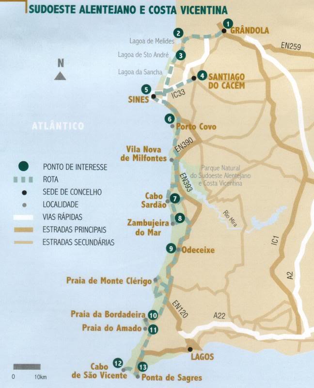 mapa da rota vicentina Lume & Ar: A Rota Vicentina mapa da rota vicentina