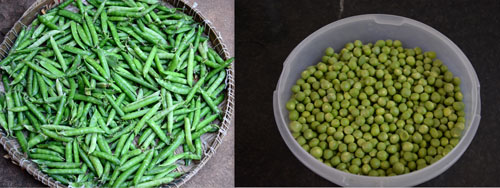fresh peas from the market