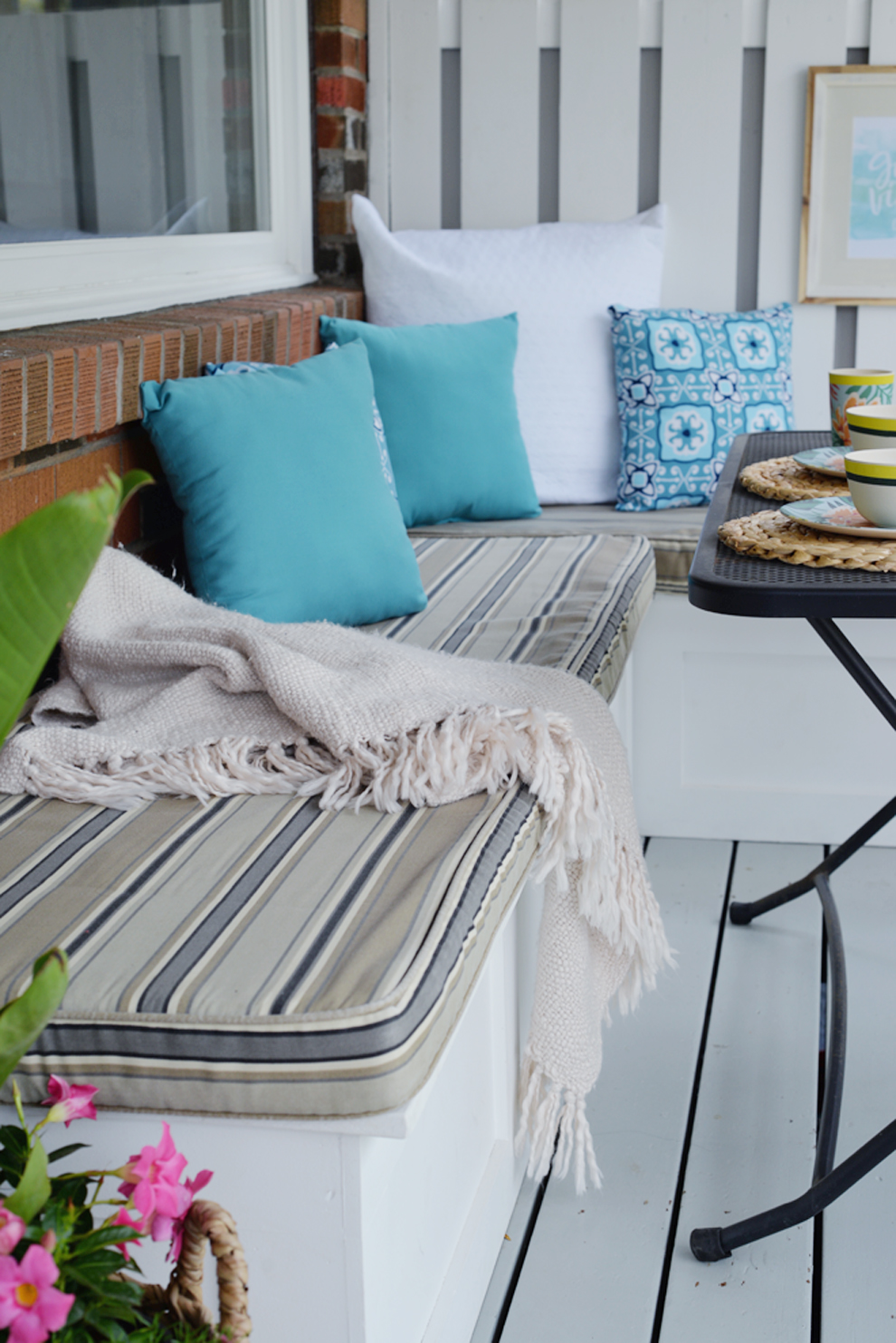 Rambling Renovators | tropical decor, outdoor decor, blue white rattan decor
