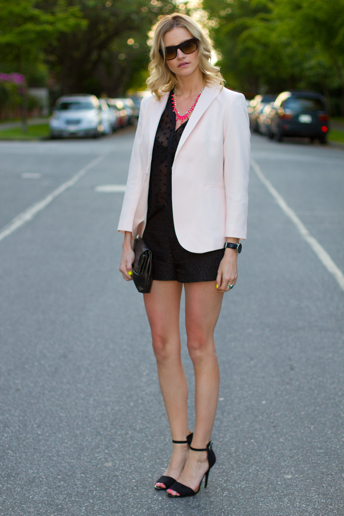 Vancouver Fashion Blogger, Alison Hutchinson, wearing H&M pink blazer, Zara Black Polka Dot Blouse, H&M Neon Pink Necklace, Zara Shorts, Zara Black Heels