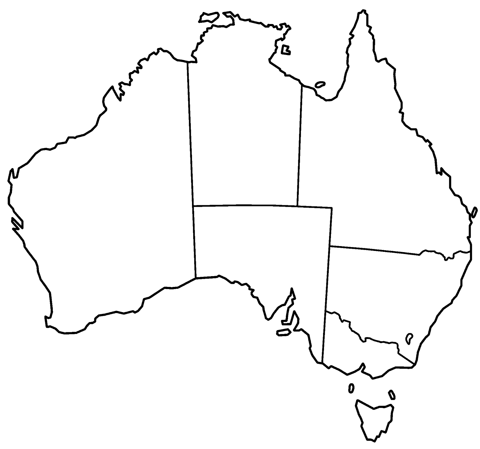 map of australia to colour in