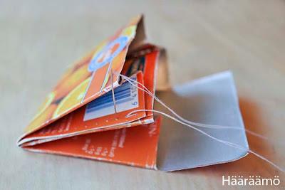 Kaksilokeroinen lompakko mehupurkista