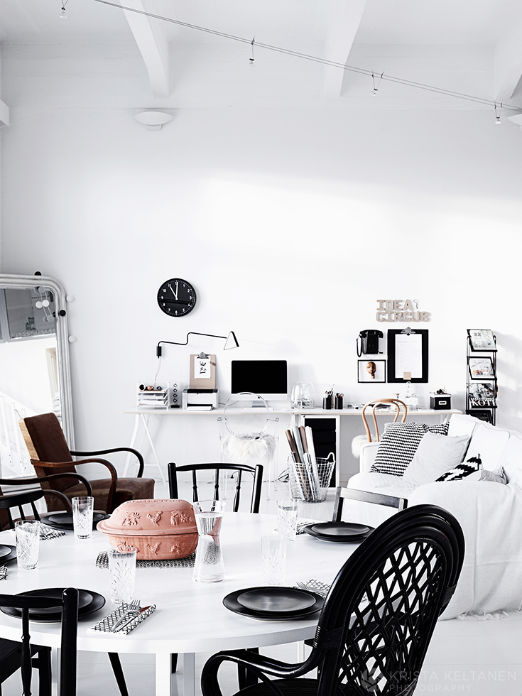 a black white apartment in finland by krista keltanen photography