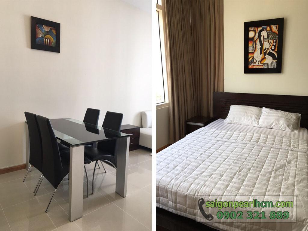 Saigon Pearl Ruby 2 cho thuê căn hộ 2PN lầu cao - bàn ăn và gường ngủ phòng chính