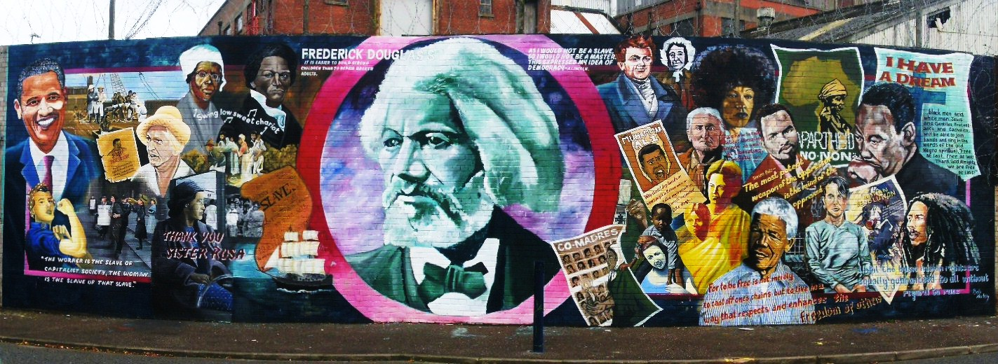 Frederick Douglass and other anti-racism icons on a mural in Belfast, Ireland