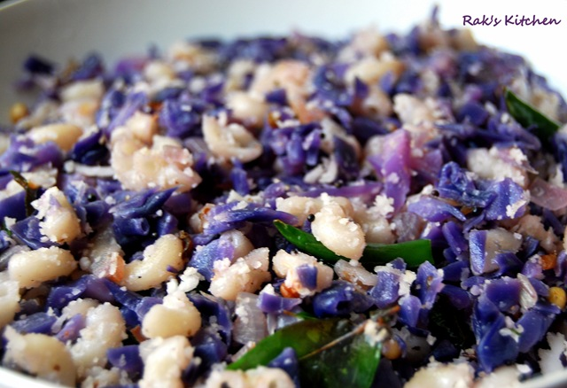 Purple cabbage poriyal recipe