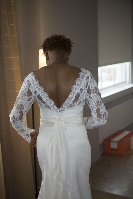 Deep South Brides at 21C Museum Hotel  shot on location by fine art wedding photographer Angela Cappetta back of bride's dress