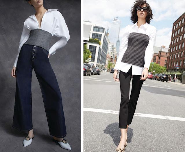 Белая рубашка и брюки с корсетом