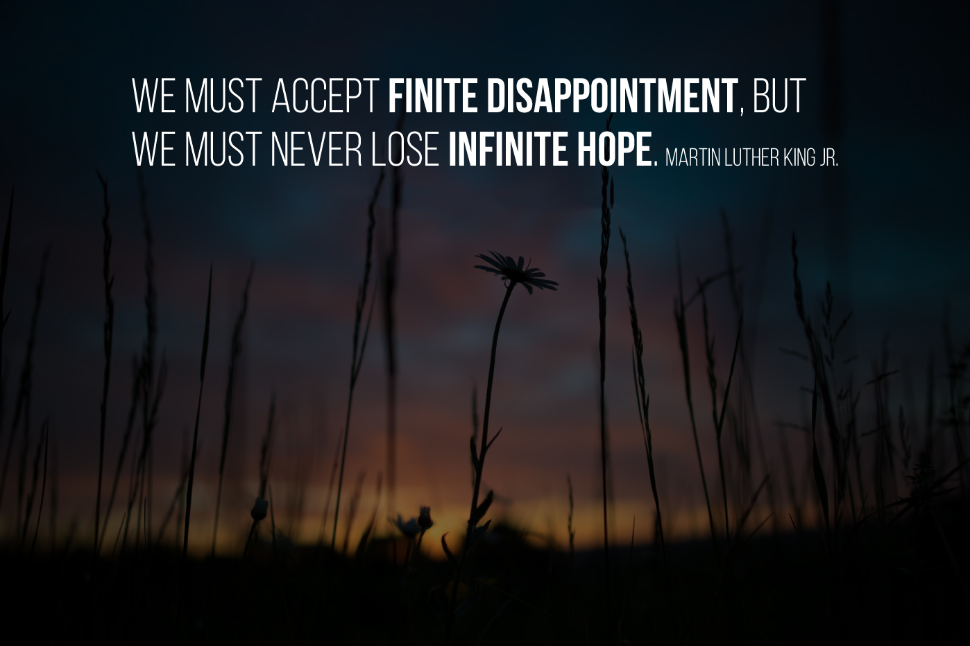We must accept finite disappointment, but we must never lose infinite hope. Martin Luther King Jr.