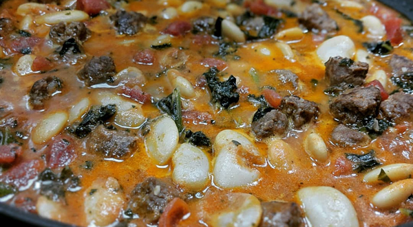 close-up image of stew, simmering away