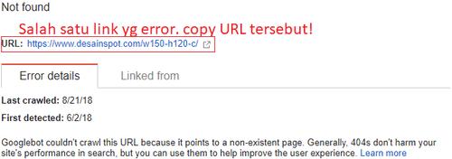 Link error 404 dicopy URL-nya