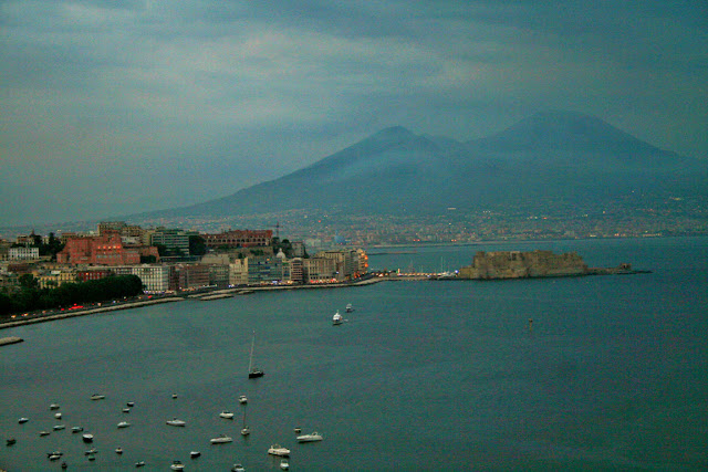 barche, mare, porto, città, palazzi, Vesuvio