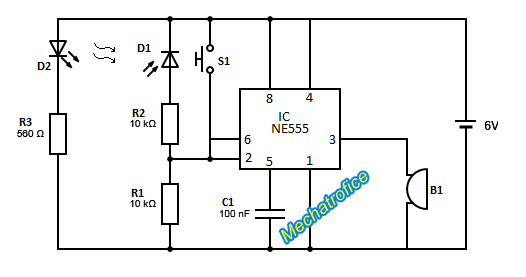 burglar alarm infrared burglar alarm circuit diagram