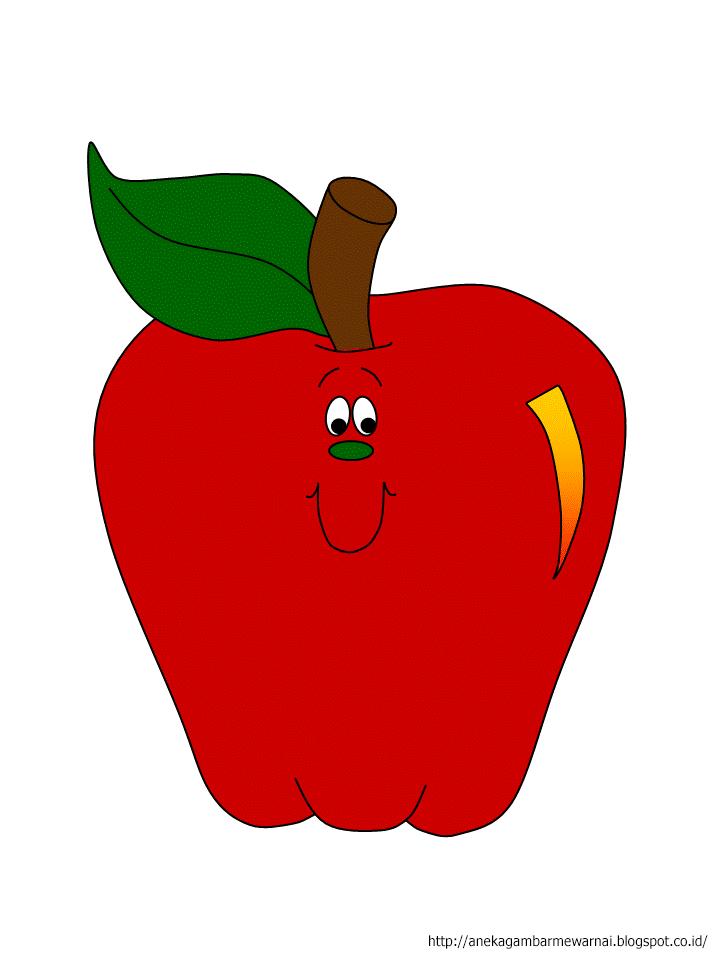 Gambar Mewarnai Buah Apel Untuk Anak PAUD dan TK 2