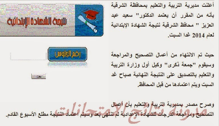 اعتماد نتيجة الصف السادس الابتدائى محافظة الشرقيه الفصل الدراسى الثانى 2014