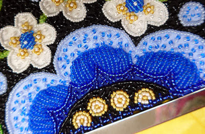 Mary Alice Sinton's original version of the blue flower at the bottom of Wild Child (Japanese bead embroidery)
