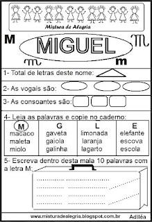 Brincando com os nomes -Miguel
