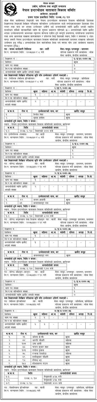 Nepal Intermodal Transportion Development Board Published Written Exam Result of Various Post