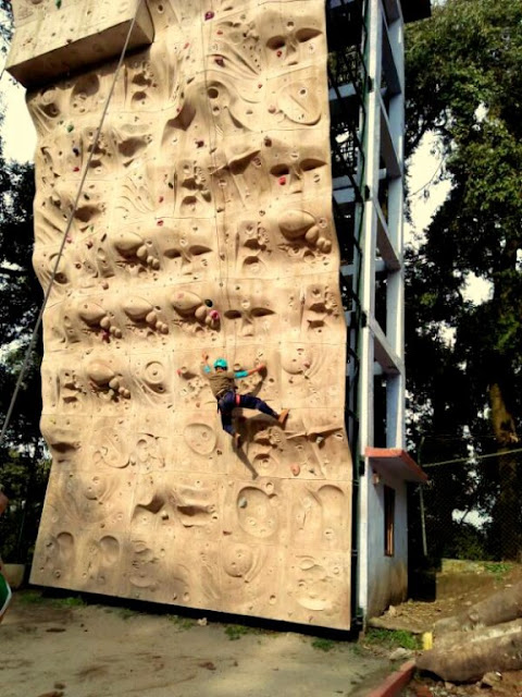 Trainees doing Sports Climbing or Artificial Wall Climbing at HMI