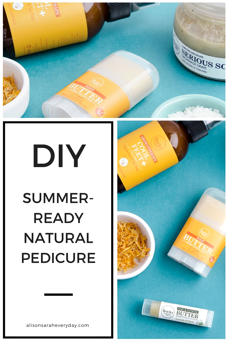 A Pinterest Graphic for a DIY Summer-Ready Natural Pedicure with Rocky Mountain Soap Company Products