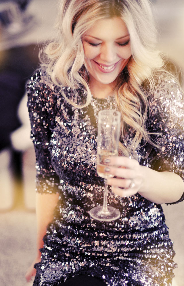sequin dress, sipping champagne