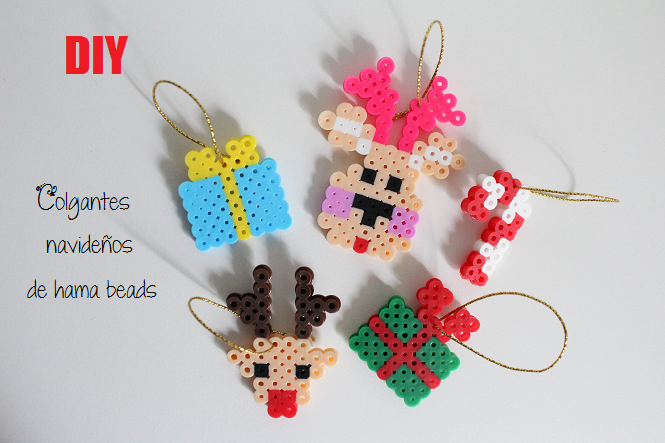 diy colgantes navideos de hama beads