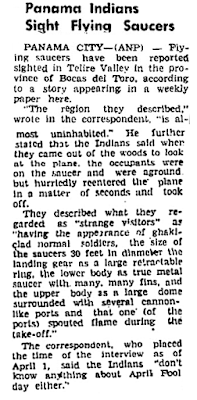 Panama Indians Sight Flying Saucers – Atlanta Daily World 4-21-1950