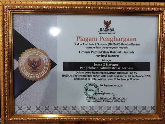 Sekretariat DPRD Banten 3 Kali Raih Penghargaan Dari BAZNAS Banten