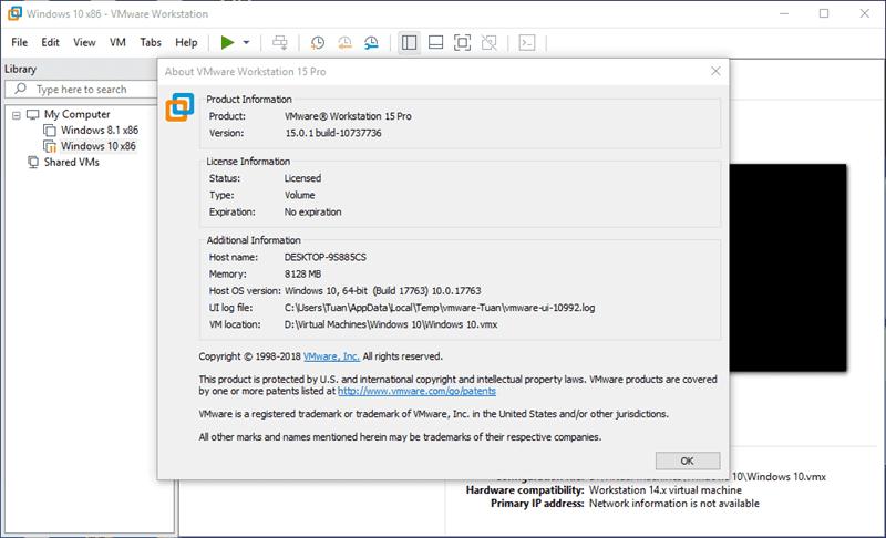 Phần mềm tạo máy ảo VMware Workstation Pro 15.0.1 Build 10737736