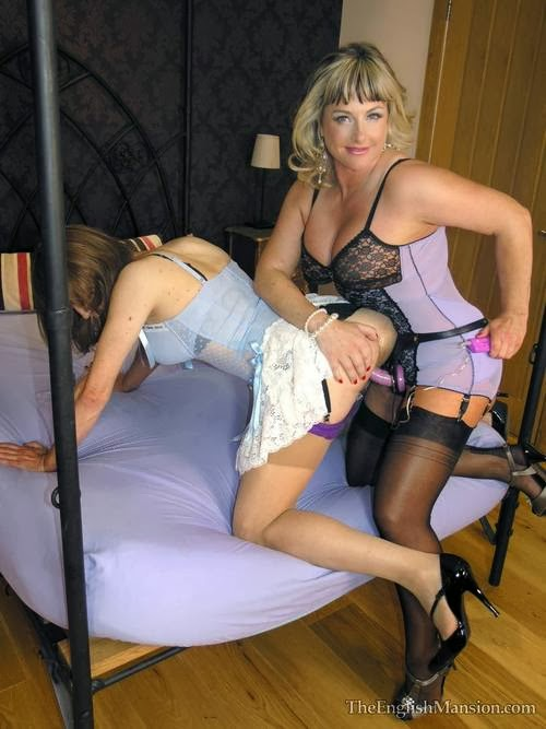 Domme pegs her bound chastity slave