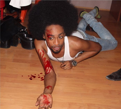 denrele edun injured movie set