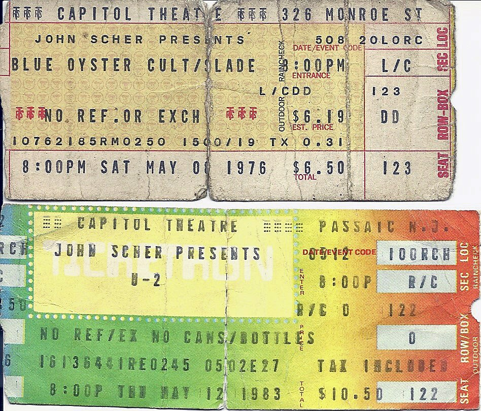 Ticket stubs for The Capitol Theatre 1976 / 1983