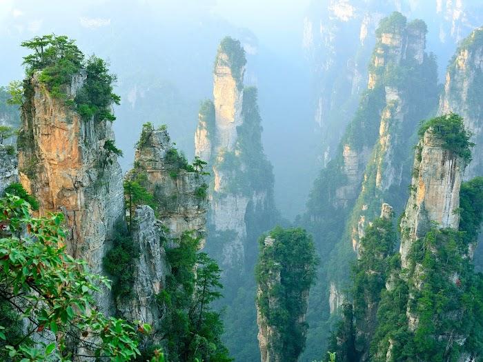 Amazingexplore The sandstone pillars of Wulingyuan Zhangjiajie Grand Canyon National Park, The world heritage beauty canyon