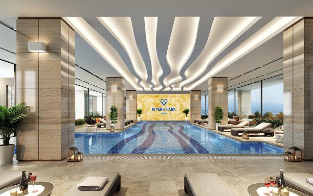 Bể bơi bốn mùa bên trong dự án Rivera Park Hà Nội