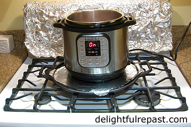 Pressure Cooker Beef Stew - this photo shows how to save your kitchen from grease spatters when you saute in an Instant Pot or other countertop appliance / www.delightfulrepast.com
