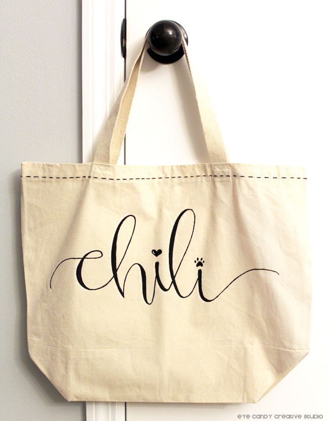 personalized doggie bag, hand lettering, lettered tote bag, dog bag