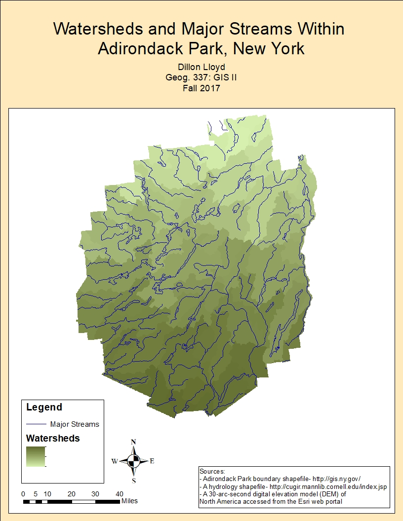 figure 1 the completed map of watersheds and major streams adirondack park new york