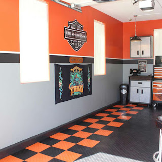 Greatmats Harley Davidson Motorcycle themed garage flooring