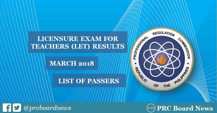 OFFICIAL RESULTS: March 2018 LET teachers board exam list of passers
