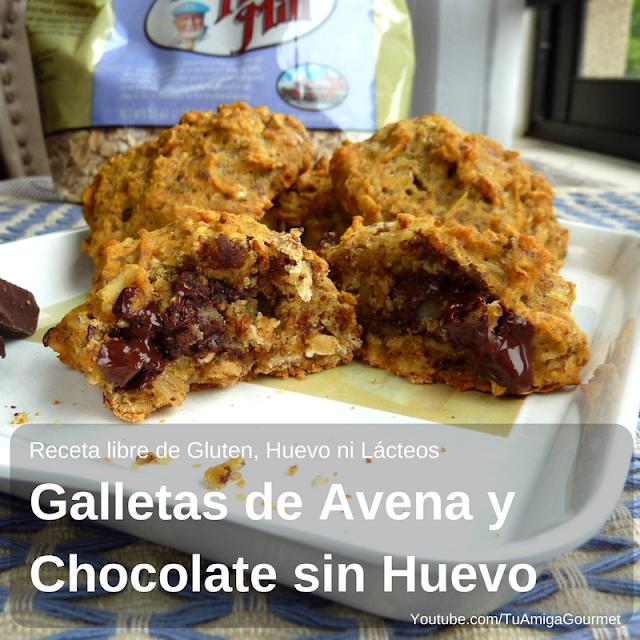 Receta: Galletas de Avena y Chocolate sin Gluten, Lácteos ni Huevos