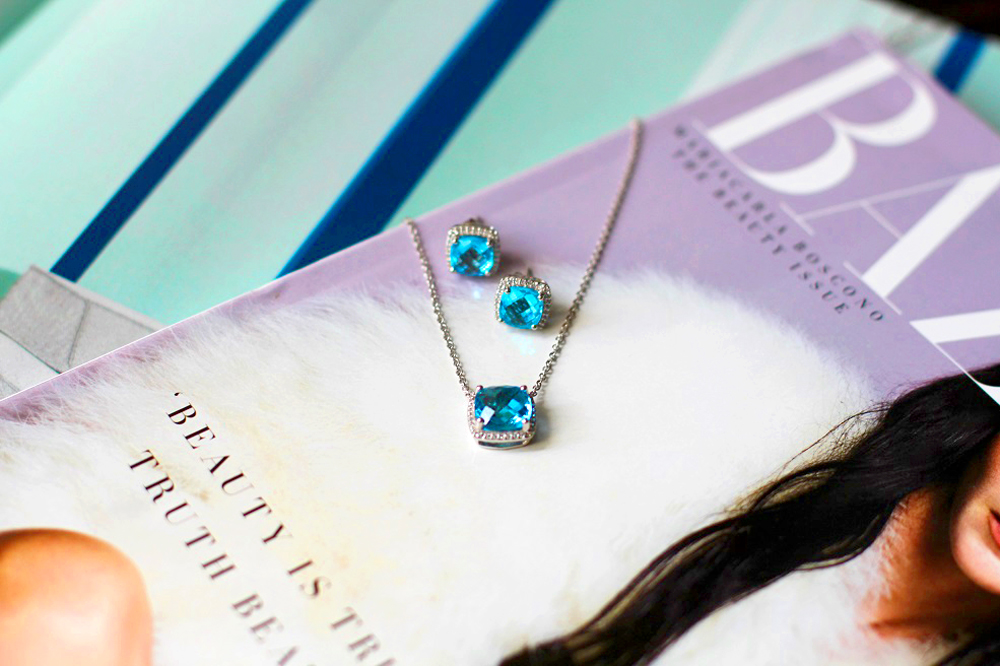 Blue Nile Blue Topaz and White Topaz Single Halo Necklace & Stud Earrings - luxury style blog